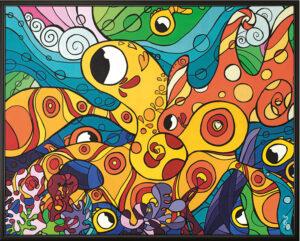 Pieuvre (octopus), toile 48x38 pouces, peinture acrylique pop-art