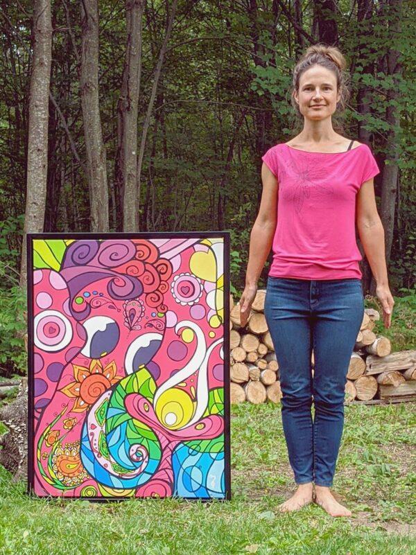 Artiste peintre Nancy Fournier éléphant rose