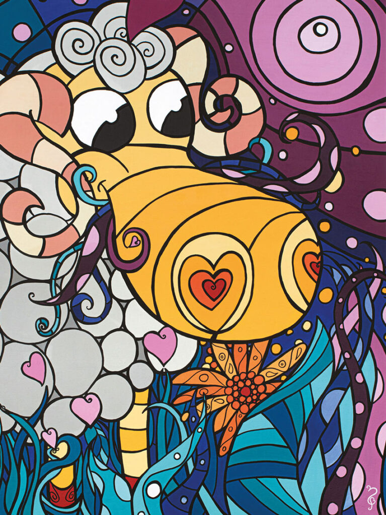 Mou Tenant, toile 28x38, acrylique
