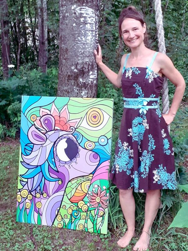 Peinture acrylique créé en collaboration avec PA Lemay. Cheval dans la nature au gré du vent sur la chanson Le temps est bon. Par l'artiste peintre Nancy Fournier